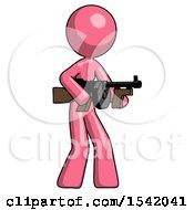 Pink Design Mascot Woman Tommy Gun Gangster Shooting Pose