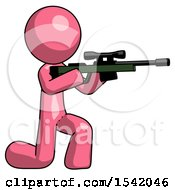 Pink Design Mascot Man Kneeling Shooting Sniper Rifle