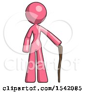 Pink Design Mascot Woman Standing With Hiking Stick