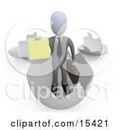 Businessman Carrying A Briefcase And Coming Out Of An Eggshell And Holding Out A Yellow Sign Clipart Illustration Image