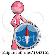 Pink Design Mascot Woman Standing Beside Large Compass