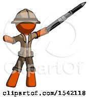 Orange Explorer Ranger Man Demonstrating That Indeed The Pen Is Mightier