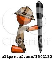 Orange Explorer Ranger Man Posing With Giant Pen In Powerful Yet Awkward Manner