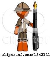 Orange Explorer Ranger Man Holding Giant Calligraphy Pen