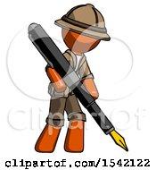 Orange Explorer Ranger Man Drawing Or Writing With Large Calligraphy Pen