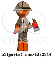 Orange Explorer Ranger Man Holding Red Fire Fighters Ax