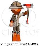 Orange Explorer Ranger Man Holding Up Red Firefighters Ax