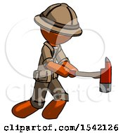 Orange Explorer Ranger Man With Ax Hitting Striking Or Chopping