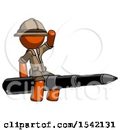 Orange Explorer Ranger Man Riding A Pen Like A Giant Rocket