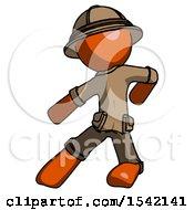 Orange Explorer Ranger Man Karate Defense Pose Left