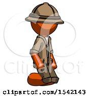 Orange Explorer Ranger Man Kneeling Angle View Right