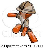 Orange Explorer Ranger Man Action Hero Jump Pose