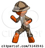 Orange Explorer Ranger Man Martial Arts Defense Pose Left