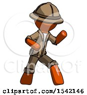 Orange Explorer Ranger Man Martial Arts Defense Pose Right