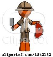 Orange Explorer Ranger Man Holding Large Steak With Butcher Knife
