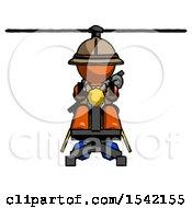 Orange Explorer Ranger Man Flying In Gyrocopter Front View