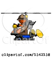 Orange Explorer Ranger Man Flying In Gyrocopter Front Side Angle View