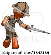 Orange Explorer Ranger Man Sword Pose Stabbing Or Jabbing