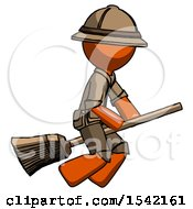 Orange Explorer Ranger Man Flying On Broom