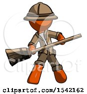Orange Explorer Ranger Man Broom Fighter Defense Pose