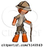 Orange Explorer Ranger Man Walking With Hiking Stick