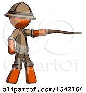 Orange Explorer Ranger Man Pointing With Hiking Stick