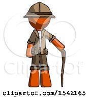 Orange Explorer Ranger Man Standing With Hiking Stick