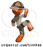 Orange Explorer Ranger Man Kick Pose Start