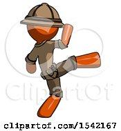 Orange Explorer Ranger Man Kick Pose