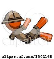 Orange Explorer Ranger Man Falling Backwards