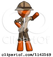 Orange Explorer Ranger Man Waving Left Arm With Hand On Hip