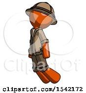 Orange Explorer Ranger Man Floating Through Air Left