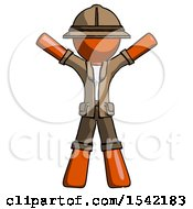 Orange Explorer Ranger Man Surprise Pose Arms And Legs Out