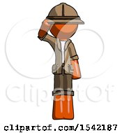 Orange Explorer Ranger Man Soldier Salute Pose