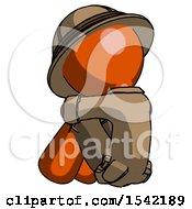 Orange Explorer Ranger Man Sitting With Head Down Back View Facing Left