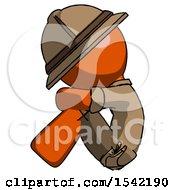 Orange Explorer Ranger Man Sitting With Head Down Facing Sideways Left