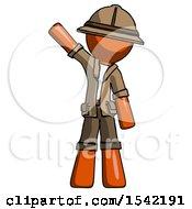 Orange Explorer Ranger Man Waving Emphatically With Right Arm