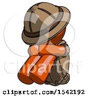 Orange Explorer Ranger Man Sitting With Head Down Facing Angle Left