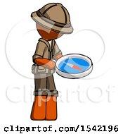 Orange Explorer Ranger Man Looking At Large Compass Facing Right