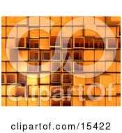 Orange Abstract Background With Cubes Some Pushed Back Some Sticking Outwards