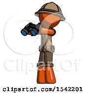 Orange Explorer Ranger Man Holding Binoculars Ready To Look Left