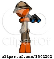 Orange Explorer Ranger Man Holding Binoculars Ready To Look Right