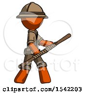 Orange Explorer Ranger Man Holding Bo Staff In Sideways Defense Pose