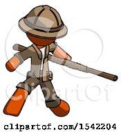 Orange Explorer Ranger Man Bo Staff Action Hero Kung Fu Pose