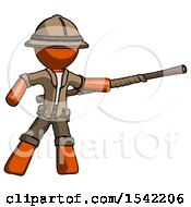 Orange Explorer Ranger Man Bo Staff Pointing Right Kung Fu Pose