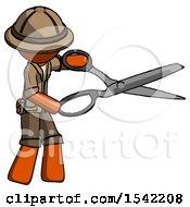 Orange Explorer Ranger Man Holding Giant Scissors Cutting Out Something