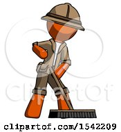 Orange Explorer Ranger Man Cleaning Services Janitor Sweeping Floor With Push Broom