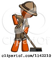 Orange Explorer Ranger Man Cleaning Services Janitor Sweeping Side View