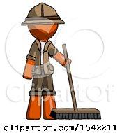 Orange Explorer Ranger Man Standing With Industrial Broom