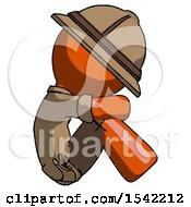 Orange Explorer Ranger Man Sitting With Head Down Facing Sideways Right